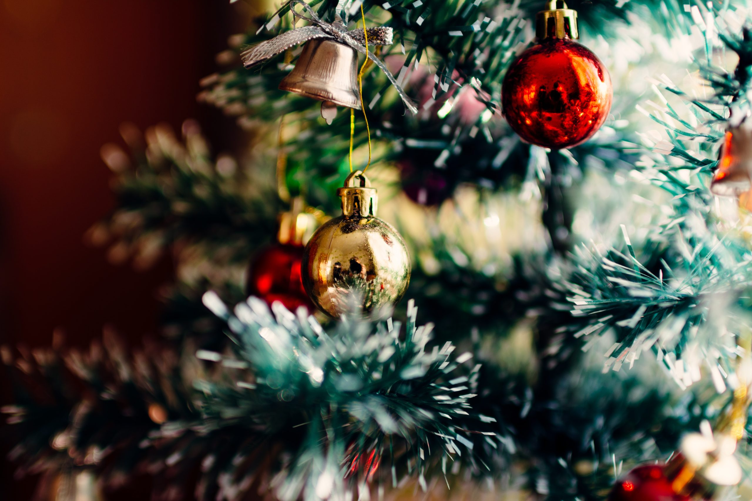 bauble balls hang on christmas tree
